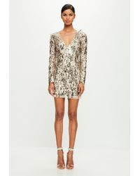 Missguided - Peace + Love Gold Sequin Bodycon Dress - Lyst