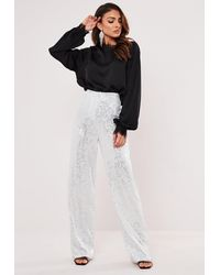 Missguided Silver Sequin Straight Leg Pants - Metallic