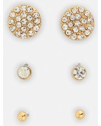 Missguided - Gold Crystal Stud Earrings - Lyst