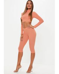 4d493f786ca890 Missguided - Terracotta Biker Shorts And High Neck Long Sleeve Crop Top Co  Ord - Lyst