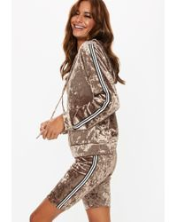 Missguided - Gray Crushed Velvet Cropped Hoodie Set - Lyst