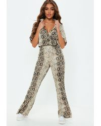 Missguided - Snakeskin Shirt And Pant Co Ord - Lyst