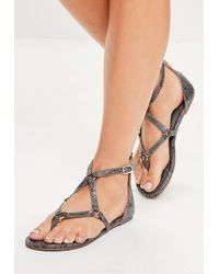 d96b25a4dc0 Missguided - Grey Harness Strap Snake Print Flat Sandals - Lyst