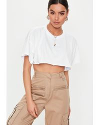 d2e80be595644 Missguided - White Extreme Underbust Drop Shoulder Crop Top - Lyst