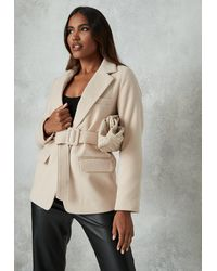 Missguided Belted Blazer Coat - Natural