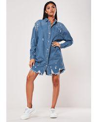 Missguided Tall Blue Distress Hem Denim Shirt Dress