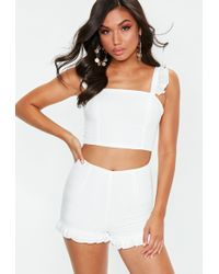 Missguided - White Frill Shoulder Coord Set - Lyst