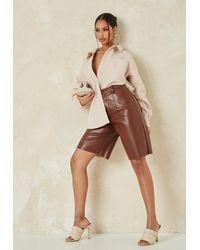 Missguided Co Ord Faux Leather Bermuda Shorts - Brown