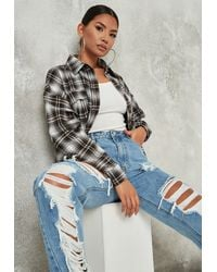 Missguided Check Long Sleeve Shirt - Brown