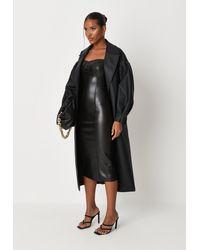 Missguided Faux Leather Cami Midi Dress - Black