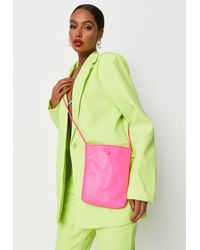 Missguided - Neon Pink Button Detail Cross Body Bag - Lyst