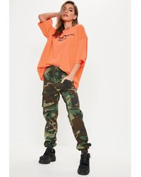 Missguided Green Camo Printed Cargo Pants