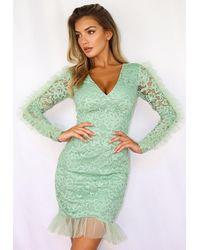 Missguided - Lace V Neck Frill Hem Mini Dress - Lyst