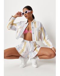 Missguided Pink Co Ord Stripe Floaty Denim Shorts - White