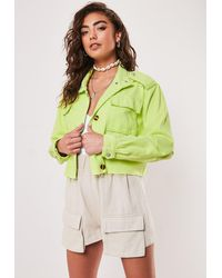 Missguided Neon Lime Cropped Utility Jacket - Green