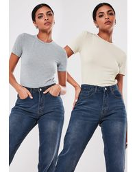 Missguided Sand And Grey 2 Pack Crew Neck T Shirts - Multicolour