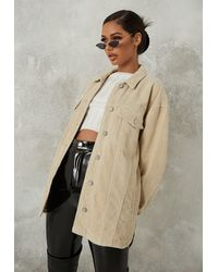 Missguided Co Ord Oversized Shacket - Natural