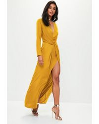Missguided - Mustard Yellow Wrap Front Maxi Dress - Lyst