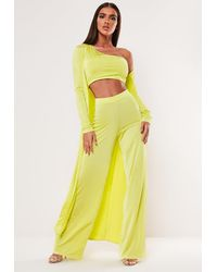 Missguided Lime Maxi Duster Jacket - Yellow