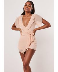 Missguided Nude Chiffon Ruffle Skort Playsuit - Natural