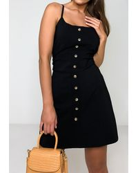 Missguided Black Tortoise Shell Button A Line Dress