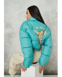 Missguided Green San Diego Graphic Back Puffer Jacket