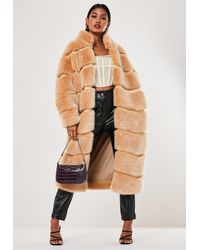 Missguided Beige Faux Fur Pelted Maxi Coat - Natural
