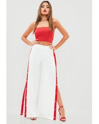 Missguided - White Popper Side Wide Leg Joggers - Lyst