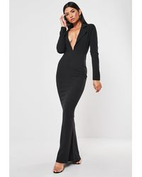 Missguided Black Tuxedo Style Fishtail Maxi Dress