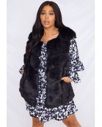 Missguided Plus Size Black Faux Fur Bubble Tank Top