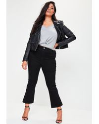 Missguided Plus Size Black Cropped Kick Flare Jeans