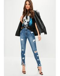Missguided - Blue Sinner High Waisted Ripped Skinny Jeans - Lyst