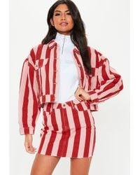 Missguided Pink Stripe Rigid Co Ord Denim Mini Skirt