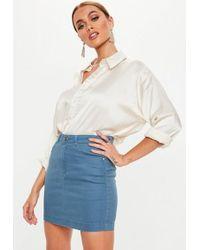 Missguided - Blue Super Stretch Denim Skirt - Lyst