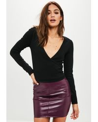 Missguided - Black Knitted V Neck Wrap Top - Lyst