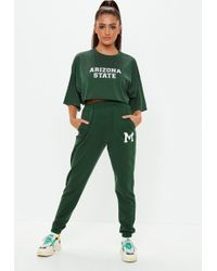Missguided - Green M Detail Jogger Sweat Bottoms - Lyst