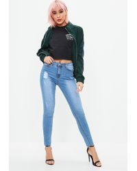 Missguided - Blue Sinner Clean Distressed Skinny Jeans - Lyst