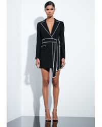 Missguided - Peace + Love Black Contrast Binding Blazer Dress - Lyst