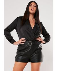 Missguided Plus Size Black Faux Leather Shorts