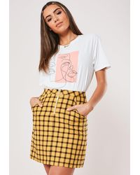Missguided Yellow Checked Zip Front Mini Skirt