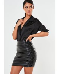 Missguided Faux Leather Ruched Mini Skirt - Black