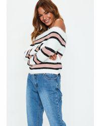 Missguided - Pink Striped Off Shoulder Jumper - Lyst