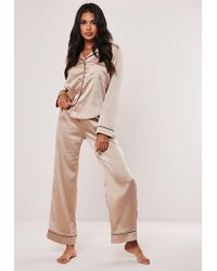 Missguided Long Sleeve Piped Trim Pyjama Set - Natural