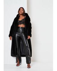 Missguided Premium Black Faux Fur Longline Maxi Coat