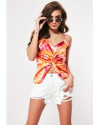 968ddd9acf993f Neon Pink Milkmaid Crop Top. £20. Missguided · Missguided - Orange Tie Dye  Satin Twist Front Cami Top - Lyst
