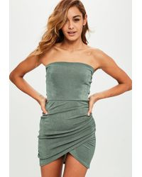 Missguided - Khaki Bandeau Ruched Side Bodycon Dress - Lyst