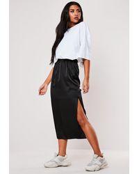 Missguided Satin Midi Slip Skirt - Black