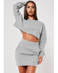 Missguided Grey Crop Top And Pocket Skirt Co Ord Set - Gray