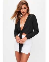 Missguided - Black Tie Front Crop Top - Lyst