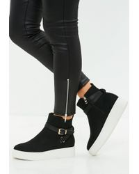 Missguided Black High Top Creeper Sole Sneakers